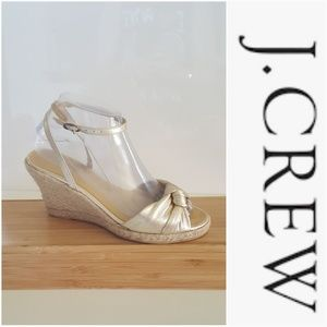 J. CREW GOLD LEATHER ANKLE WRAP WEDGE SANDALS
